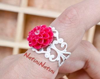 Pink floral ring