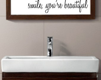 smile, you're beautiful - vinyl wall decal sticker bathroom mirror inspirational art Free Shipping