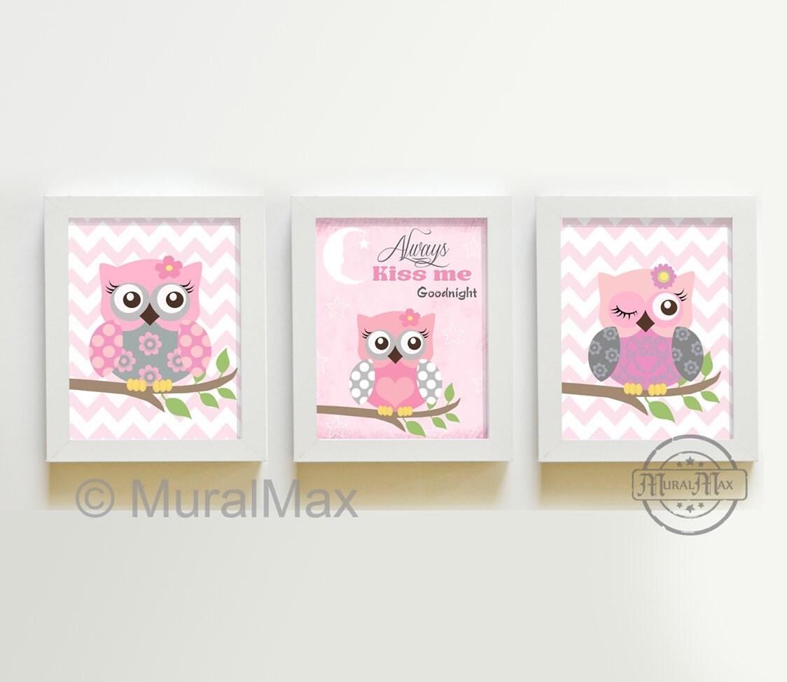 Pink And Gray Owl Nursery Decor Owl Print Wall Art Set Of