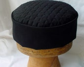 Victorian Style Smoking Cap Black Quilted and Beaded, Lounge Hat Steampunk Mens Hat, Gothic Pillbox Hat Edwardian Fez - handmade