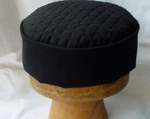 Victorian Style Smoking Cap Black Quilted and Beaded, Lounge Hat Steampunk Mens Hat, Gothic Pillbox Hat  - handmade