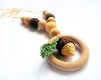 Nursing teething Necklace Crochet  Acorns Ring toy Autumn  Brown Beige Breastfeeding Teething necklace Slinging mom