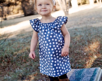 Gray White Polka Dot Baby Toddler Child Peasant Dress