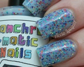She Is Confused Nail Polish - MINI - bright blue jelly with rainbow glitter