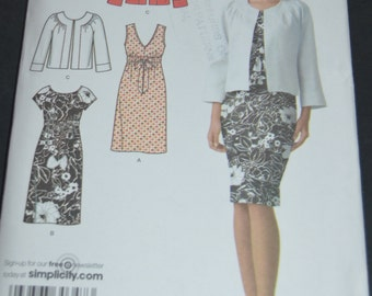 Simplicity 3874 misses dress with bodice variations and jacket sewing pattern - UNCUT - Size 8 10 12 14 16