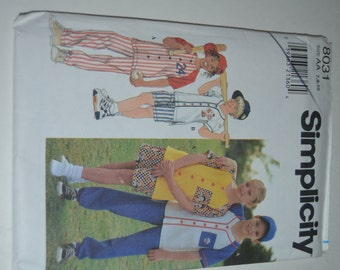 Simplicity 8031 Kids Sport Outfits(Top, Pants or Shorts and Cap)  Sewing Pattern - UNCUT - Size 7 8 10