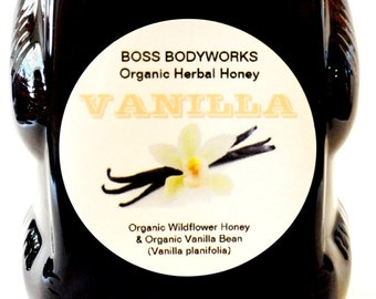Organic VANILLA BEAN Honey - herbal, infused, wildflower, 12 oz squeeze bottle, non-GMO, fair trade, kosher