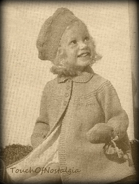 Vintage Knitting Pattern Beret : Toddlers COAT BERET Knitting Pattern Vintage by touchofnostalgia7