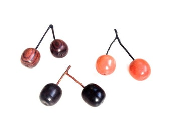 Cherry Love, wood turning, lathe, cherries, fruit, summer, wooden cherries, ebony, king wood, pink ivory, decoration, fruit display