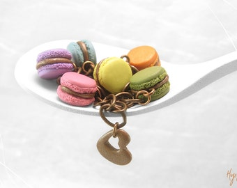 Colorful Macaron Bracelet, Food Jewelry, Copper Bracelet, Food Bracelet Rainbow, Macaron Jewelry, Foodie gift, Kawaii Jewelry Macaroon