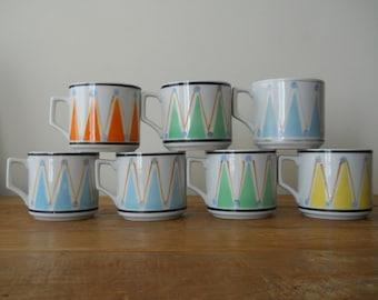 Vintage Mod Harlequin Mugs in Orange and Blue