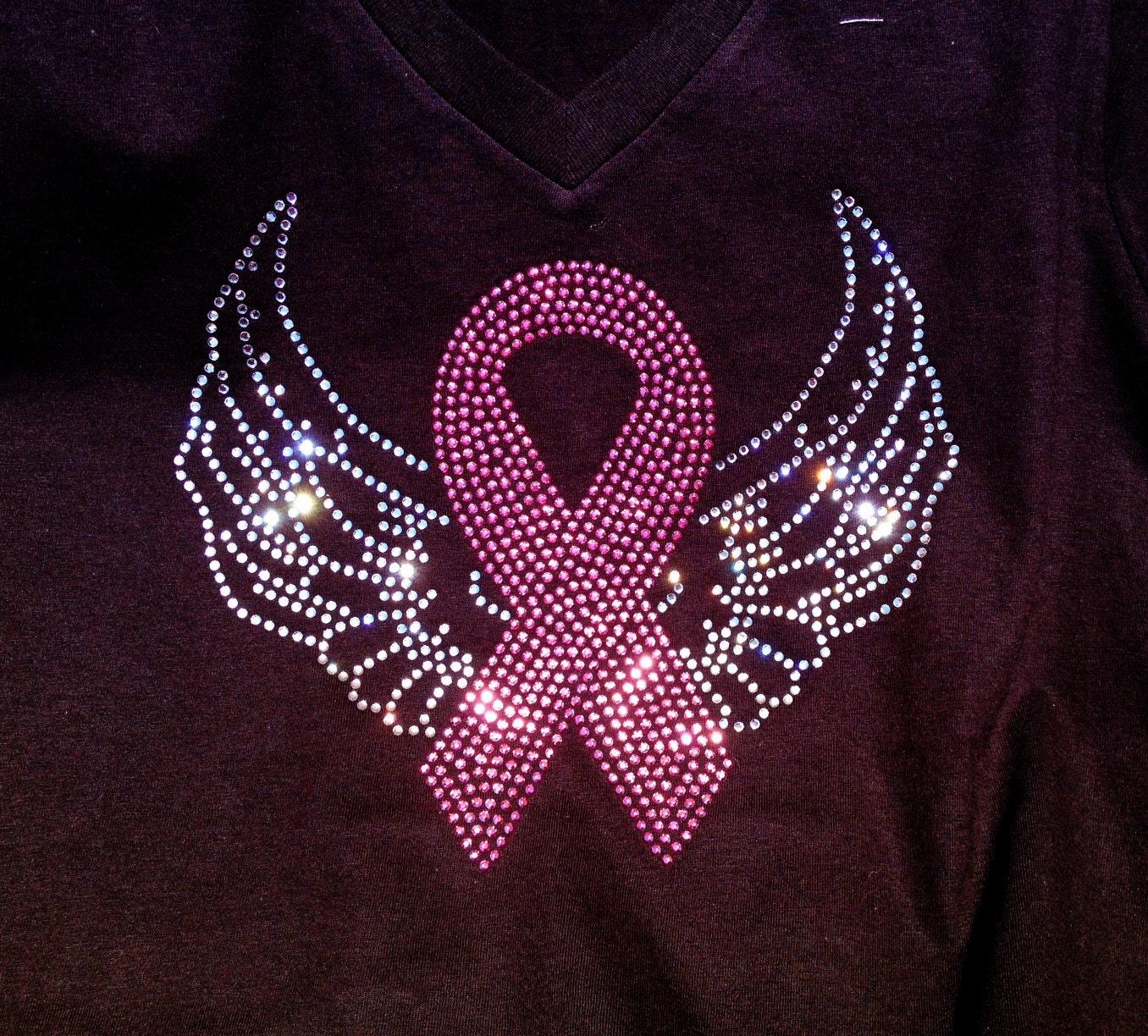 Breast Cancer Angel Wings Pink Ribbon Rhinestone Bling Shirt