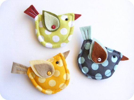 Items similar to fabric and felt bird brooch polka dot for Polka dot felt fabric