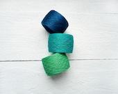 Lace weight Linen  yarn - Emerald Green