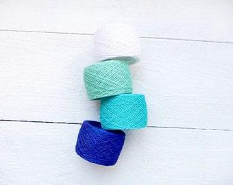 400gr / 14oz.  of natural Linen Yarn, linen thread, blue, turquoise, white, mint