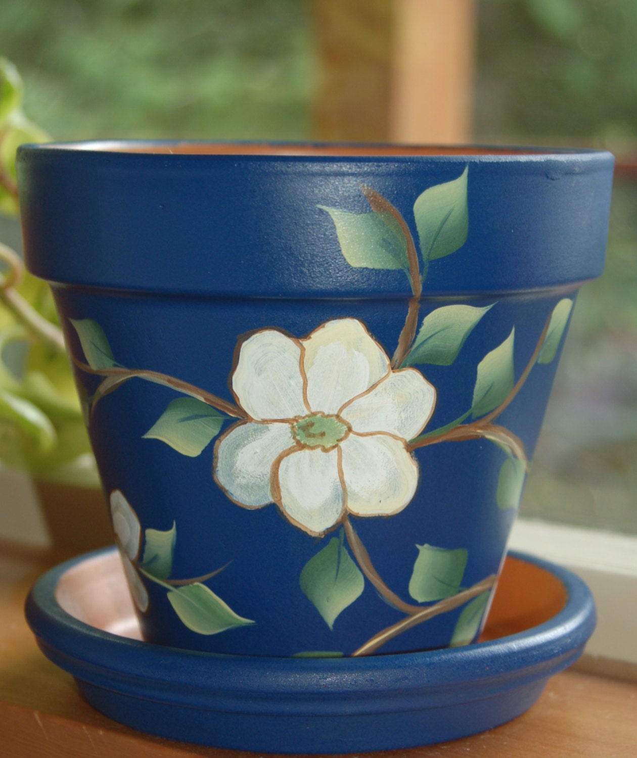 hand painted clay flower pot gentle white dogwood flowers and. Black Bedroom Furniture Sets. Home Design Ideas