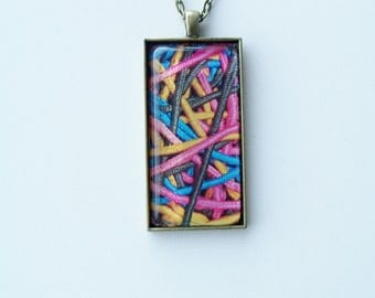CLEARANCE - Brass colourful pendant necklace - brass and glass jewelry - oblong glass pendant -  colourful elastic band design necklace