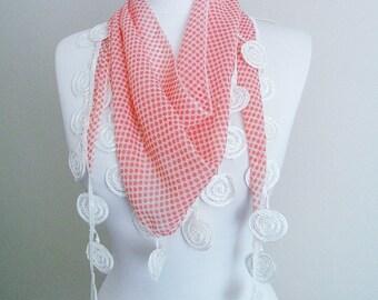 Pink Polka Dot Circle Lace scarf, Embroidery scarf, Pom Pom Scarf, trim shawl, Guipure Scarf spring - summer - fall fashion