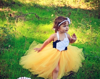 Beautiful Navy and Yellow Flower Girl Tutu Dress with white satin roses any colors available