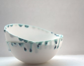 Porcelain ring dish. English fine bone china bowl with blue droplets - ring dish - ring holder