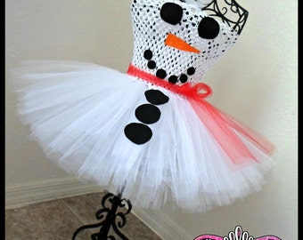 Snowman Tutu dress| Snowman dress| Holiday tutu dress| Christmas tutu dress | Newborn- size 8 child listing!