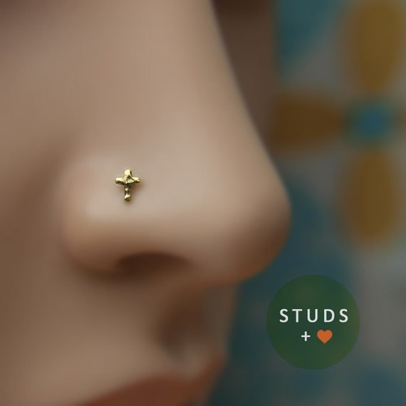 nose stud tiny cross 24k gold plated piercing by lopic
