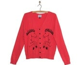 RESERVED - Horse Print Cardigan with Heart Buttons in Bright Tomato Red/Pink Colour - MEDIUM