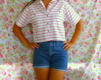 Vintage 80s Cropped Button-Up Striped Shirt