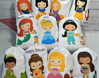 """Birthday favor Bags Princesses and Friends Party for treats and gifts Personalize 5"""" X 7"""" or 6"""" X 8"""" Qty 11"""