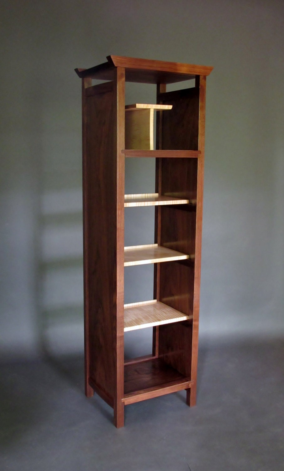 Narrow Bookcase Tall Display Cabinet Media Tower