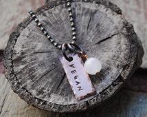 Vegan Necklace, Pendant for Vegans with Rose Quartz Stone