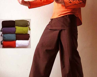Thai Fisherman Pants - Coffee Fishermen Trousers - Wrap Pants - Shanti - Yoga - Men - Women - Fisherman - Thailand - Plain Color
