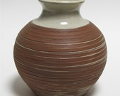 Red Stoneware Vase with Textured Decoration and White Glaze