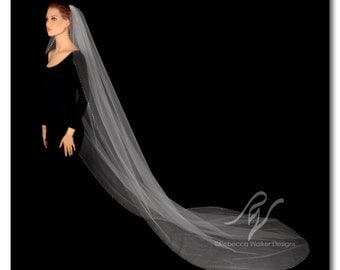 Cathedral Length Rhinestone Edged Bridal Veil, Made With SWAROVSKI ELEMENTS