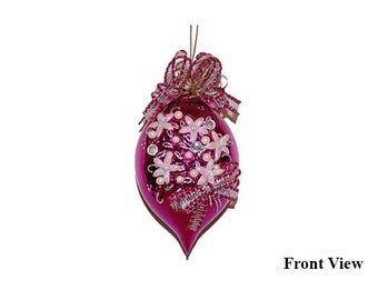 Vintage Handmade Felicitas Magenta Glass Ornament - West Germany