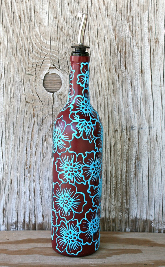 Hand painted wine bottle olive oil pourer brick red by for Painting flowers on wine bottles