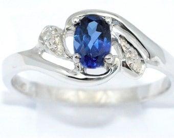 0.50 Ct Blue Sapphire & Diamond Oval Ring Sterling Silver Rhodium Finish