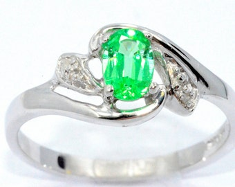 0.50 Ct Green Sapphire & Diamond Oval Ring Sterling Silver Rhodium Finish