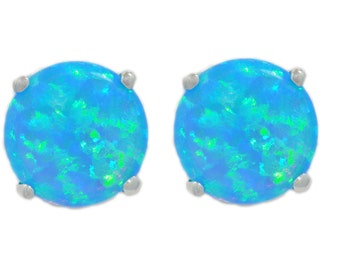 Blue Opal Stud Earrings .925 Sterling Silver Rhodium Finish