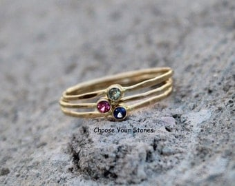 Birthstone Stacking Rings in 14k Gold, Choose Your Color