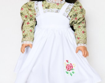 Little Women, 18 Inch Doll Dress, Jo, Yellow, Green and White, Embroidered Rose