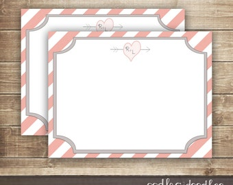 Personalized Valentine Love Note Card / Love Notes / Personalized Note Card / Personal Stationary / Valentine's Day - Printable