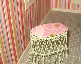 SALE 5.00 Dollhouse miniature sage green wire side table