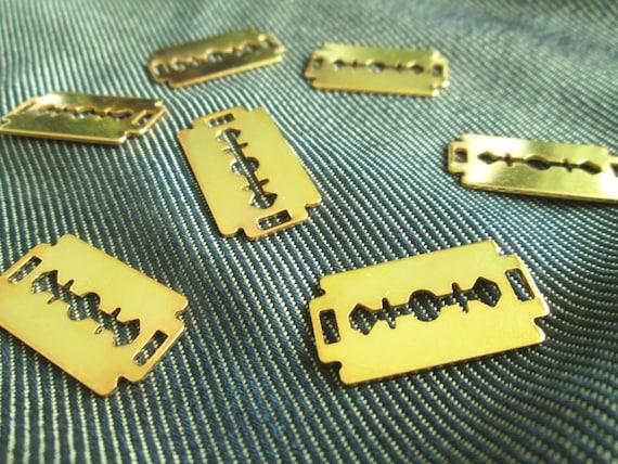 Basket Weaving Supplies Connecticut : Pcs of razor blade gold color plated pendant supplies ct