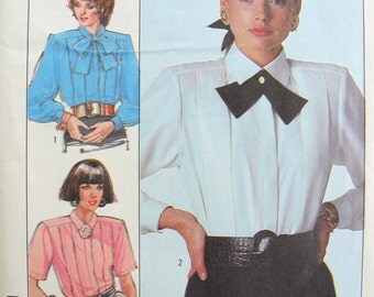 Vintage 1980s SIMPLICITY 8237 Set of 3 Blouse and Tie Patterns Perfect For Power Suits Bust 32.5