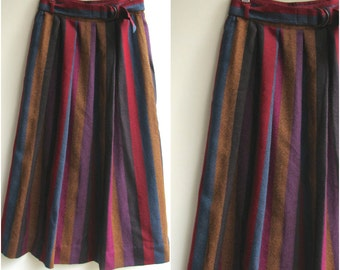 1960s High Waisted Skirt / Stripes with Pockets and Belt  / Wool Skirt / Medium