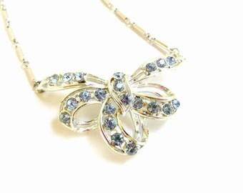 Vintage Coro Necklace Blue Ribbon Rhinestone Necklace, Bow Necklace, Bib Necklace, Sky Blue, Light