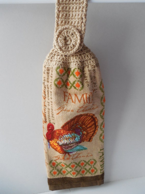 Crochet Kitchen Towel : Hanging Kitchen Towel With Crochet Top by ShelleysCrochetOle
