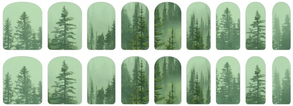 Mint Green Christmas Trees Nail Decals