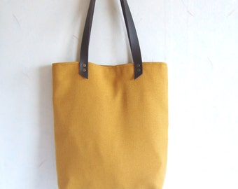 Mustard yellow bag, mustard yellow tote, leather straps, fall shoulder bag, autumn tote